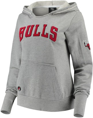 Women's Heathered Gray Chicago Bulls French Terry Lining Thumbhole Pullover Hoodie