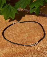 Urban Silver Women's Necklaces - Black Leather & Silvertone Etched Pendant Necklace