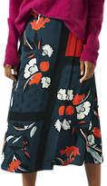 Jigsaw Nordic Floral Flared Midi Skirt, Nordic Orange
