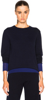 Victoria Beckham Cashmere Silk Trim Crewneck Sweater in Blue.