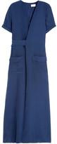 Frame Le Wrap Silk-charmeuse Maxi Dress - Storm blue