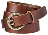 Merona Women's Double Prong Leather Jean Belt - Brown