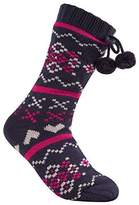 Forever Dreaming Ladies Long Knitted Slipper Socks with Full Soft Fleece Lining (S-M, )