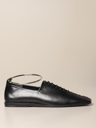 Jil Sander Flat Ballerina In Smooth Leather With Anklet