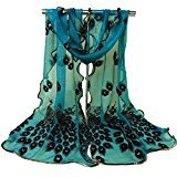 TR.OD Fashion Women's Long Peacock Print Chiffon Scarf Wrap