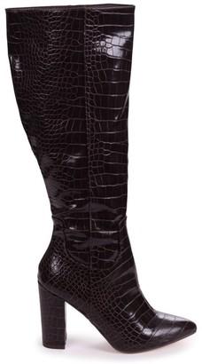 Linzi DIONNE - Brown Croc Cowboy Style Block Heel Long Boot