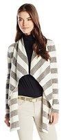 Three Dots Women's Kiara Stripe Drape Front Cardiagan