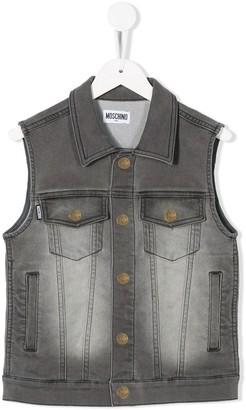 MOSCHINO BAMBINO Sleeveless Stonewashed Denim Jacket