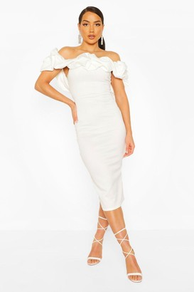 boohoo Puff Ruffle Bardot Midi Dress