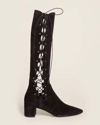 Saint Laurent Black Lou 50 Lace-Up Tall Suede Boots