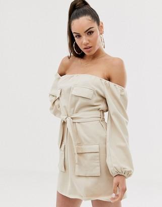 Asos DESIGN denim off shoulder utility dress