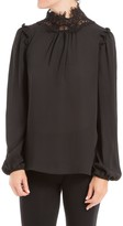 Max Studio Bubble Sleeved Blouse With Lace Neck
