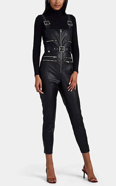 purchase cheap shop for luxury luxuriant in design WeWoreWhat Women's Faux-Leather Moto Overalls - Black