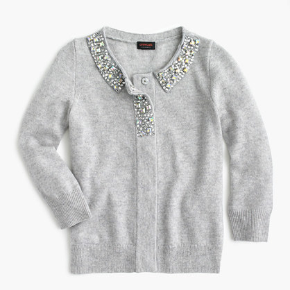 J.Crew Girls' jewel-collar cashmere cardigan sweater