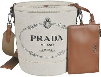 Prada Logo Printed Bucket Bag