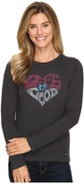 Life is Good Heart Long Sleeve Crusher Tee