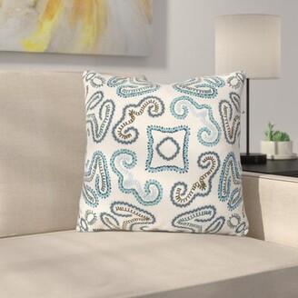 "Oak Hill Cotton Throw Pillow Latitude Run Size: 18"" H x 18"" W x 4"" D, Color: Cream/Sky Blue/Navy/Teal/Bright Blue"
