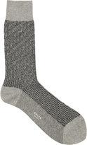 Reiss Reiss Schranger - Textured Herringbone Socks In Grey
