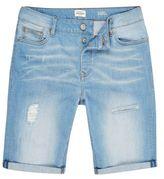 River Island MensLight blue wash skinny fit denim shorts