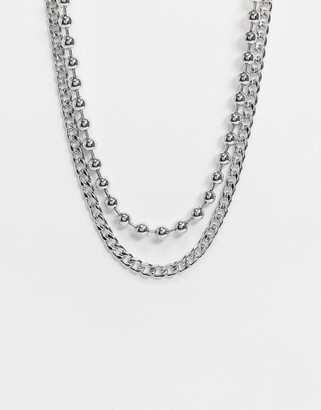 Topshop chunky chain necklace in silver