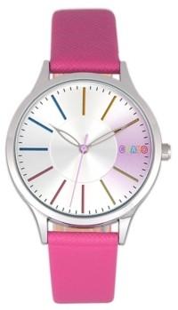 Crayo Unisex Gel Hot Pink Leatherette Strap Watch 35mm