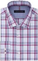 Tommy Hilfiger Men's Non Iron Slim Fit Plaid Spread Collar Dress Shirt