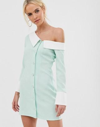 UNIQUE21 one shoulder shirt dress-Green