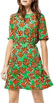 Warehouse Woodblock Daisy Dress, Green