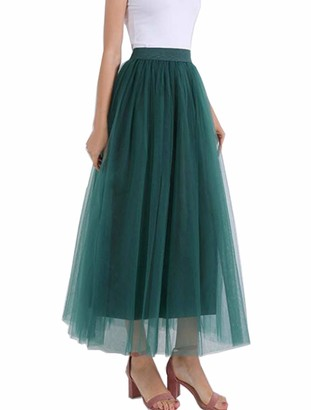May Story Women Girls Long Tulle Skirt High Waist Maxi Skirt Pleated Skirt 4 Layers Tutu Princess Wedding Party Evening Skirt (One Size