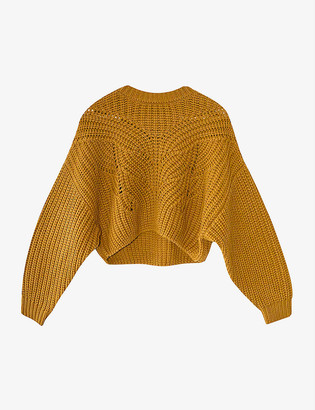 Topshop Butterfly-stitch cropped knitted jumper
