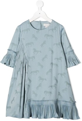 Stella Mccartney Kids Horse Print Flared Dress