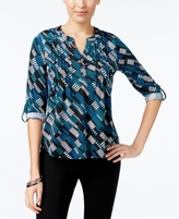 NY Collection Petite Printed Pintucked Top