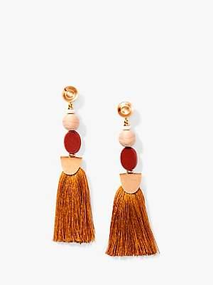 Nectar Nectar Silk Thread Tassel Drop Earrings, Brown/Gold