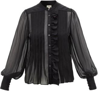 Temperley London Penny Ruffled Silk-chiffon Blouse - Womens - Black