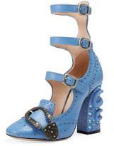 Gucci Triple-Strap Snake-Heel Pump, Light Blue