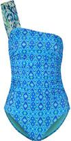 Matthew Williamson One-shoulder Printed Swimsuit - Cobalt blue