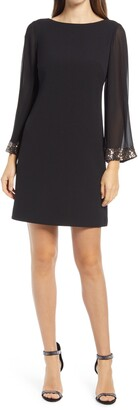 Vince Camuto Crepe Long Chiffon Sleeve Dress