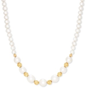 """Effy Cultured Freshwater Pearl (5-11mm) & Bead 18"""" Collar Necklace in 14k Gold"""