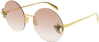 Alexander McQueen Jeweled Spider Round Rimless Sunglasses