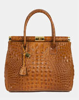 Diana Clara Cognac Croc embossed Italian leather handbag