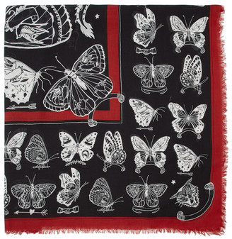 Alexander McQueen Black and White Inked Butterfly Shawl