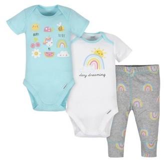 Gerber Baby Girl Onesies Bodysuits and Pant Set, 3pc