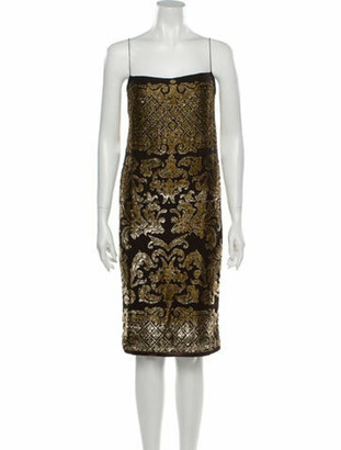 Saint Laurent Vintage Knee-Length Dress Gold