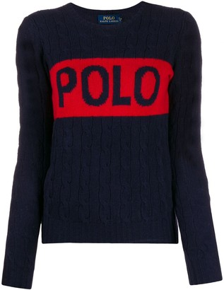 Polo Ralph Lauren Logo Print Cable Knit Jumper