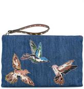 RED Valentino embroidered bird denim clutch