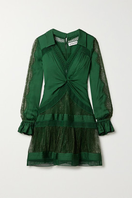 Self-Portrait Self Portrait Twist-front Paneled Satin-twill, Lace And Mesh Mini Dress - Dark green