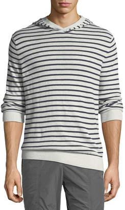 Vince Men's Striped Linen/Cotton Pullover Hoodie