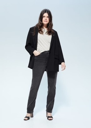 MANGO Violeta BY Straight-fit Theresa jeans open grey - 12 - Plus sizes