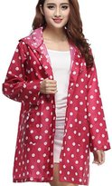 Partiss Women's Fashion Pure Color Dots Long Sleeves Parka Raincoat