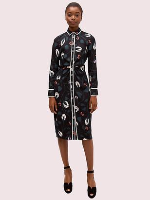 Kate Spade Deco Bloom Crepe Shirtdress